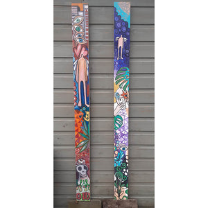Plank of Life by Wilf Frost original artwork painted in bright colours onto two thick plywood planks with oil and acrylic