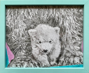 Polar bears original drawing by Stella Tooth artist wall