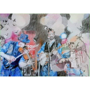 Police Dog Hogan at the Half Moon Putney Mixed media on paper of musician by London based performer artist Stella Tooth