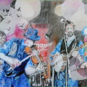 Police Dog Hogan at the Half Moon Putney Mixed media on paper of musician by London based performer artist Stella Tooth Detail