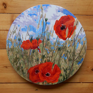 Poppies Original Oil Painting of Red Flowers by Stella Tooth