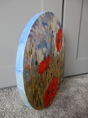 Poppies Original Oil Painting Circular Canvas by Stella Tooth