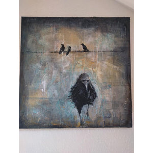 Raven original acrylic and pastel mixed media artwork of raven bird with birds on a wire by London artist Sarita Keeler