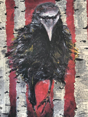 Raven in the Woods by Sarita Keeler Mixed Media Acrylic Detail