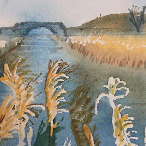 Reeds Along The River by Helen Trevisiol Duff giclée print detail bridge