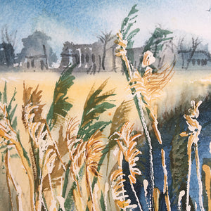 Reeds Along The River by Helen Trevisiol Duff giclée print detail reeds