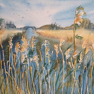 Reeds Along The River by Helen Trevisiol Duff giclée print detail river