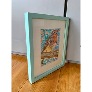 Robin Redbreast bird drawing by Stella Tooth London Artist Side