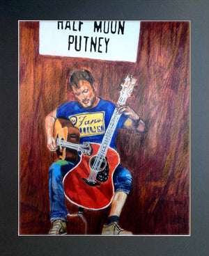 Rodney Branigan at the Half Moon Putney mixed media portrait of guitarist by musician artist Stella Tooth Display