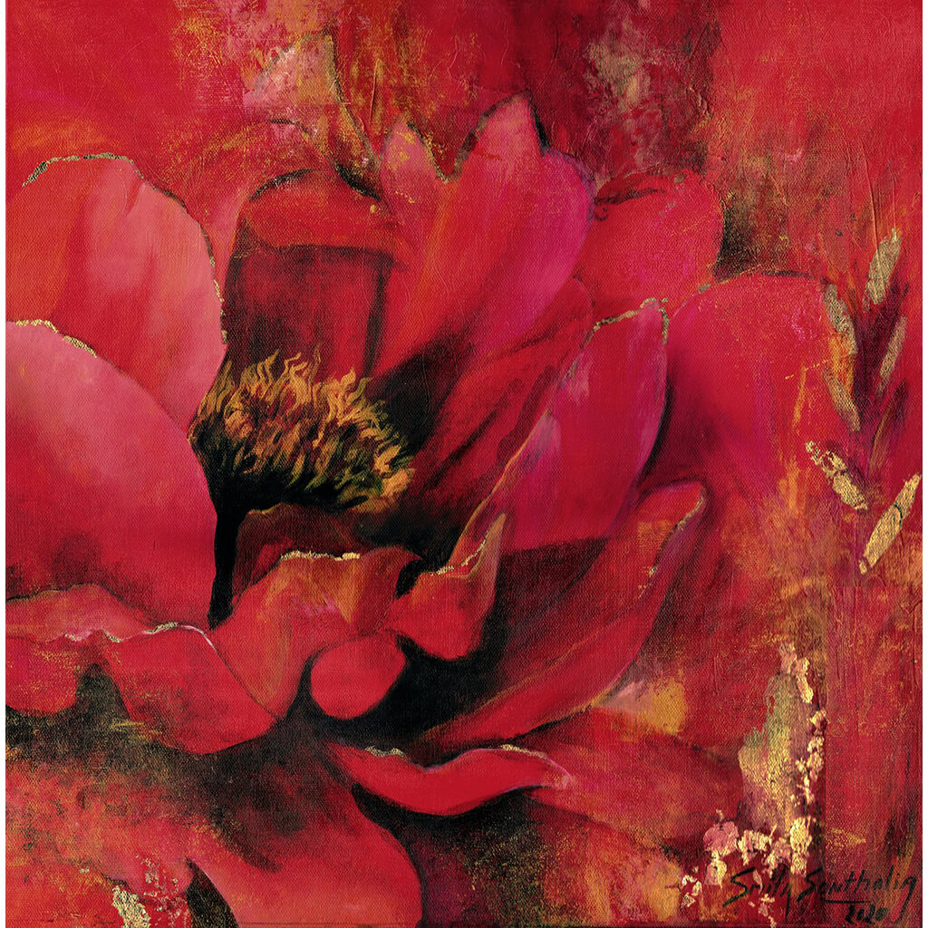 Roja Por Siempre by London artist Smita Sonthalia original framed acrylic on canvas painting featuring large flower petals in shades of red.