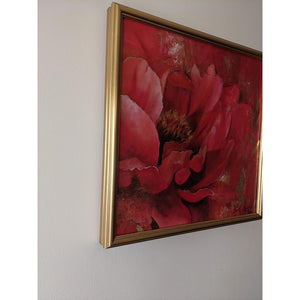 Roja Por Siempre by London artist Smita Sonthalia original framed acrylic on canvas painting featuring large flower petals in shades of red side