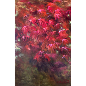 Original large painting in shades of red titled Ruby Acer by artist Claire Thorogood depicting red Japanese maple leaves