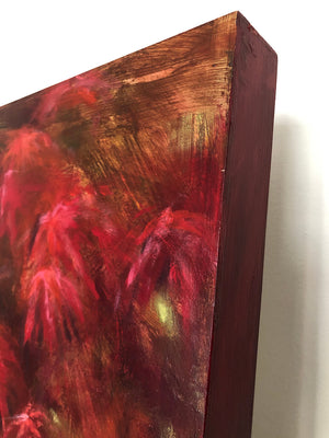 Original large painting in shades of red titled Ruby Acer by artist Claire Thorogood depicting red Japanese maple leaves Detail