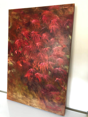 Original large painting in shades of red titled Ruby Acer by artist Claire Thorogood depicting red Japanese maple leaves Display
