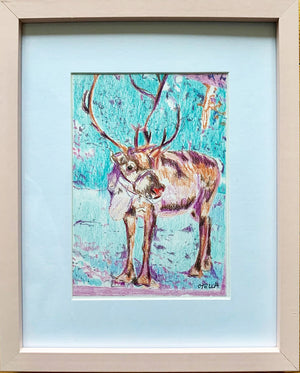 Rudolph Reindeer original pencil drawing by artist Stella Tooth wall