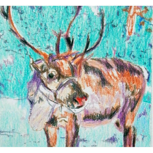 Rudolph Reindeer original pencil drawing by artist Stella Tooth