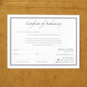Certificate of Authenticity Sarah Knight Artist