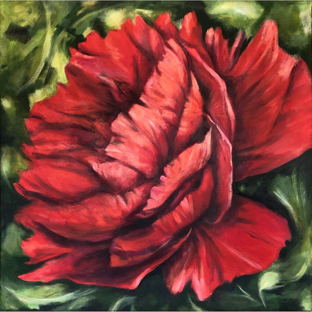 Scarlet Peony large red painting in acrylic on canvas by flower and nature painter Claire Thorogood