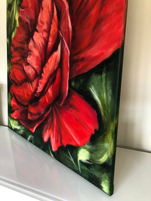Scarlet Peony large red painting in acrylic on canvas by flower and nature painter Claire Thorogood Detail