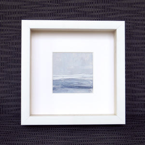 Seascape IX by Sarah Knight. An original semi-abstract mini oil seascape of stormy seas in blues and greys with optional frame front