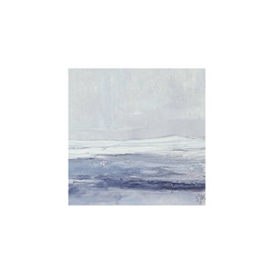 Seascape IX by Sarah Knight. An original semi-abstract mini oil seascape of stormy seas in blues and greys with optional frame mount
