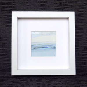 Seascape XIV by Sarah Knight. An original semi-abstract mini oil seascape of calm seas in blue, cream and grey with optional frame