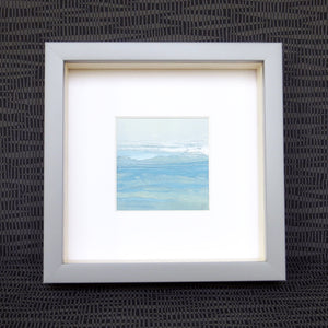 Seascape XVIII by Sarah Knight. An original semi-abstract mini oil seascape of calm seas in blue, green and grey with optional frame