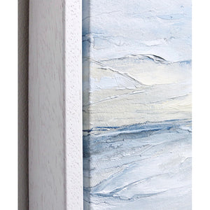 Seascape in Cerulean Blue by Sarah Knight. An original semi-abstract large oil seascape painted in shades of blue, white and grey frame detail