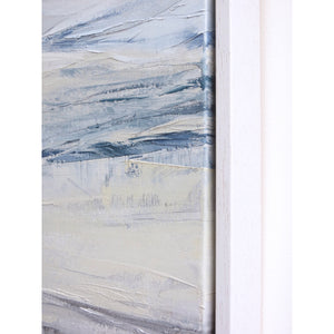 Seascape in Cerulean Blue by Sarah Knight. An original semi-abstract large oil seascape painted in shades of blue, white and grey detail