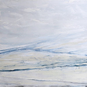 Seascape in Cerulean Blue by Sarah Knight. An original semi-abstract large oil seascape painted in shades of blue, white and grey framed