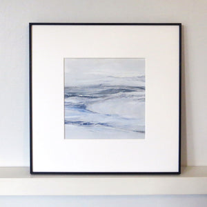 Seascape in Lismer Blue by Sarah Knight. An original semi-abstract mini oil seascape of calm seas in blue, green and grey with optional frame