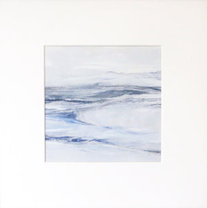 Seascape in Lismer Blue by Sarah Knight. An original semi-abstract mini oil seascape of calm seas in blue, green and grey with optional frame in mount