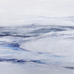 Seascape in Lismer Blue by Sarah Knight. An original semi-abstract mini oil seascape of calm seas in blue, green and grey
