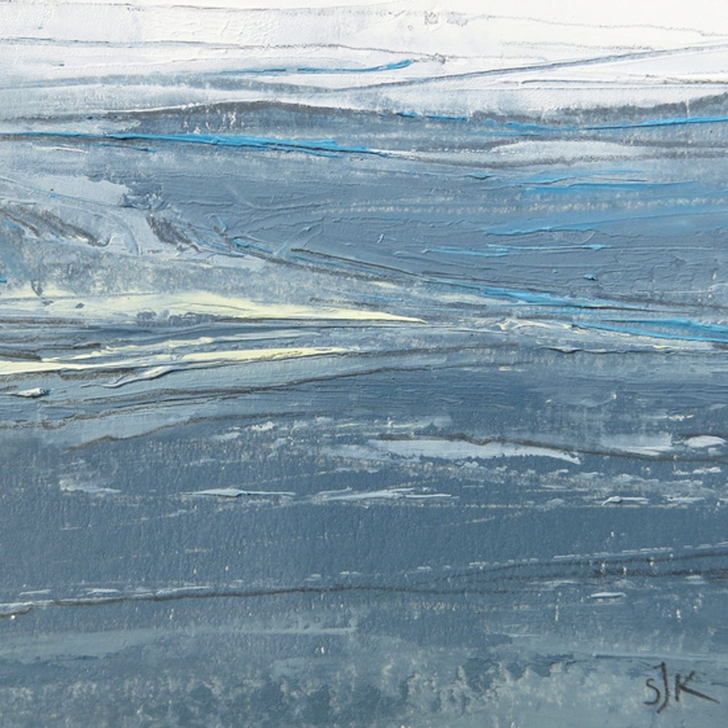Seascape VIII by Sarah Knight original semi-abstract mini oil seascape palette knife painting in shades of grey blue and turquoise