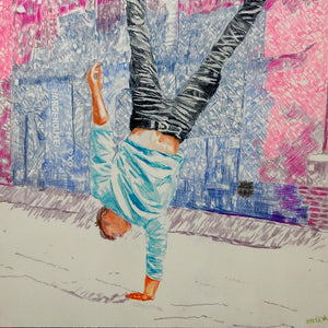 Jonathan Last street performer South Bank London acrobat portrait drawing original artwork by Stella Tooth artist detail