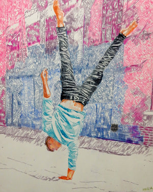 Jonathan Last street performer South Bank London acrobat portrait drawing original artwork by Stella Tooth artist display