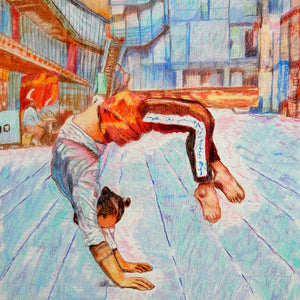Manuele d'Aquino street performer South Bank London acrobat portrait drawing original artwork by Stella Tooth artist detail
