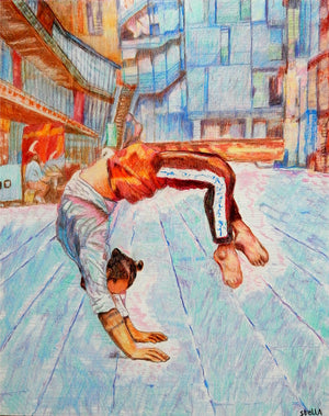 Manuele d'Aquino street performer South Bank London acrobat portrait drawing original artwork by Stella Tooth artist display