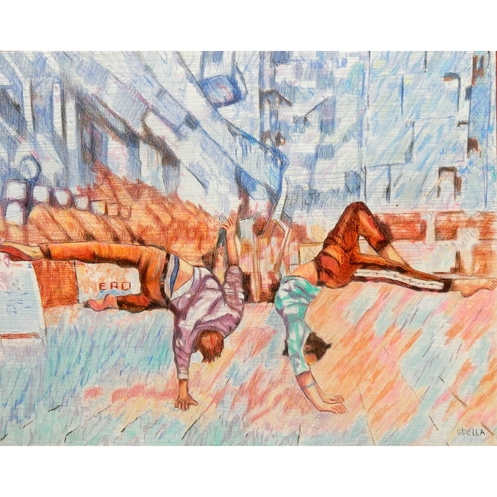 Jonathan Last and Manuele d'Aquino street performer acrobats South Bank London original drawing artwork by Stella Tooth