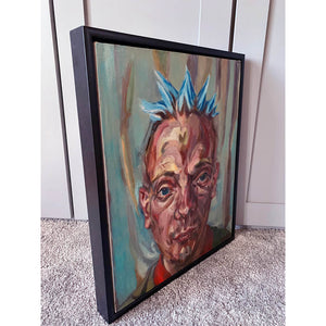 Spikey bed o' nails performer oil painting on canvas in green and blue by London based portrait artist Stella Tooth