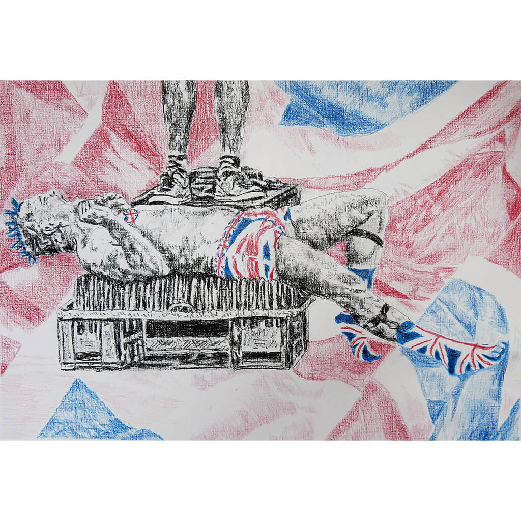 Spikey Union Jack busker performing in Covent Garden in London pencil drawing on paper artwork by Stella Tooth