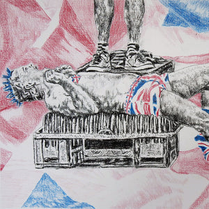 Spikey Union Jack busker performing in Covent Garden in London pencil drawing on paper artwork by Stella Tooth detail