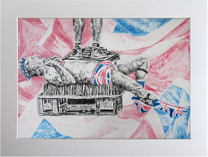 Spikey Union Jack busker performing in Covent Garden in London pencil drawing on paper artwork by Stella Tooth Display