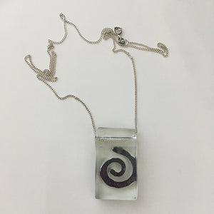 Spiral by Eryka Isaak glass pendant on sterling silver kerb chain necklace