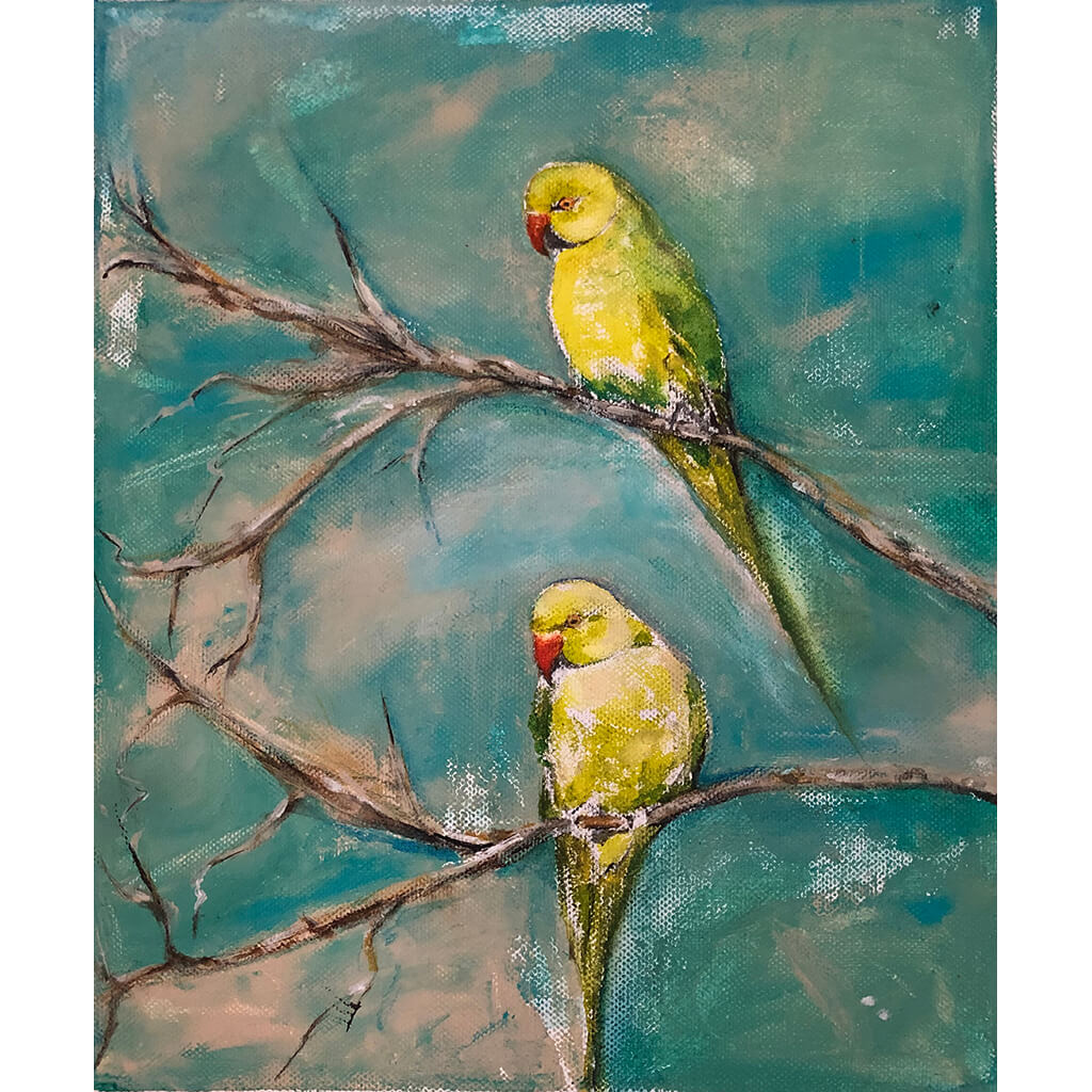 Spring Time original acrylic and pastel mixed media artwork of a green parakeet bird by London artist Sarita Keeler