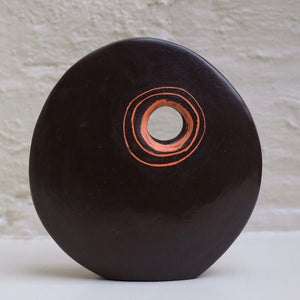 Standing Stone I by Caroline Nuttall-Smith unique hand built small black stoneware sculpture with incised orange and pale green line