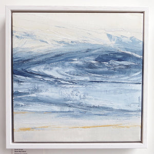 Stone Blue Storm by Sarah Knight. An original semi-abstract oil seascape painted in shades of blue and grey framed in white wood