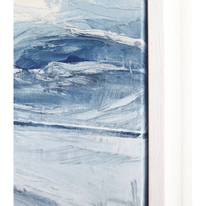 Stone Blue Storm by Sarah Knight. An original semi-abstract oil seascape painted in shades of blue and grey framed in white wood frame detail