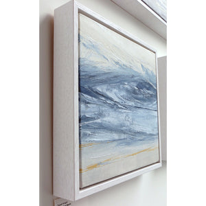 Stone Blue Storm by Sarah Knight. An original semi-abstract oil seascape painted in shades of blue and grey framed in white wood side