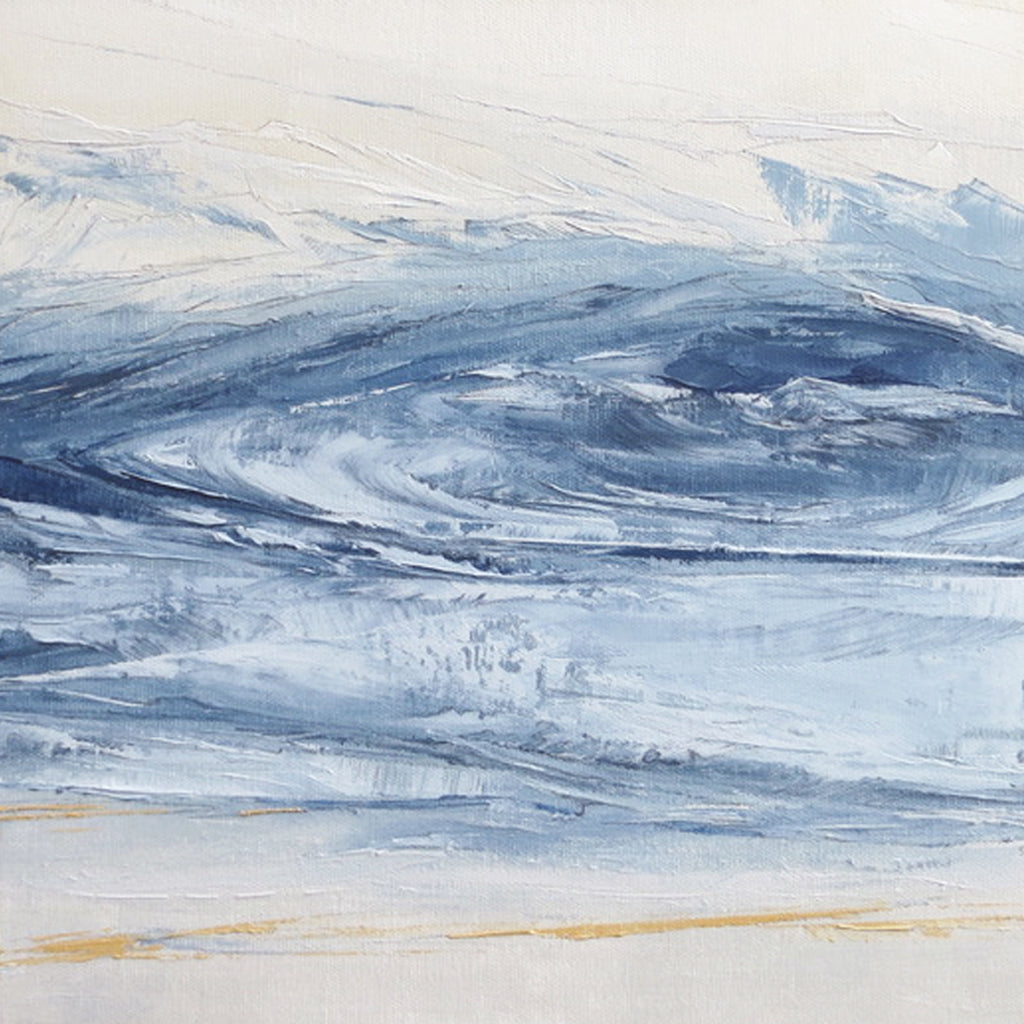 Stone Blue Storm by Sarah Knight. An original semi-abstract oil seascape painted in shades of blue and grey framed in white wood detail